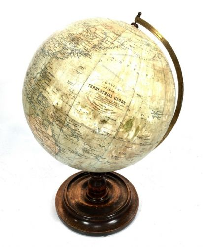 "Antique Philips 12"" Inch Terrestrial Globe On Oak Base/ World Map"